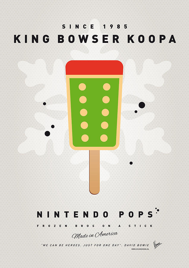 1 Up Digital Art - My Nintendo Ice Pop - King Bowser by Chungkong Art
