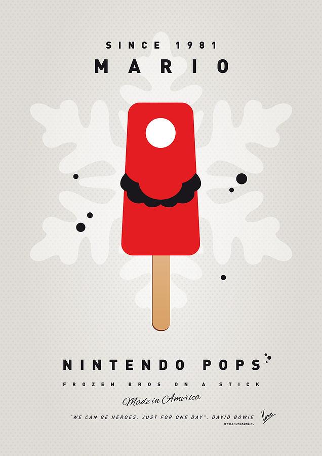 1 Up Digital Art - My Nintendo Ice Pop - Mario by Chungkong Art
