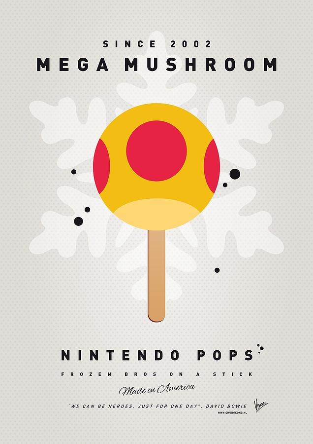 1 Up Digital Art - My Nintendo Ice Pop - Mega Mushroom by Chungkong Art