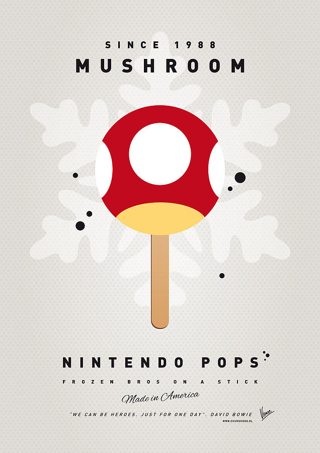 1 Up Digital Art - My Nintendo Ice Pop - Mushroom by Chungkong Art