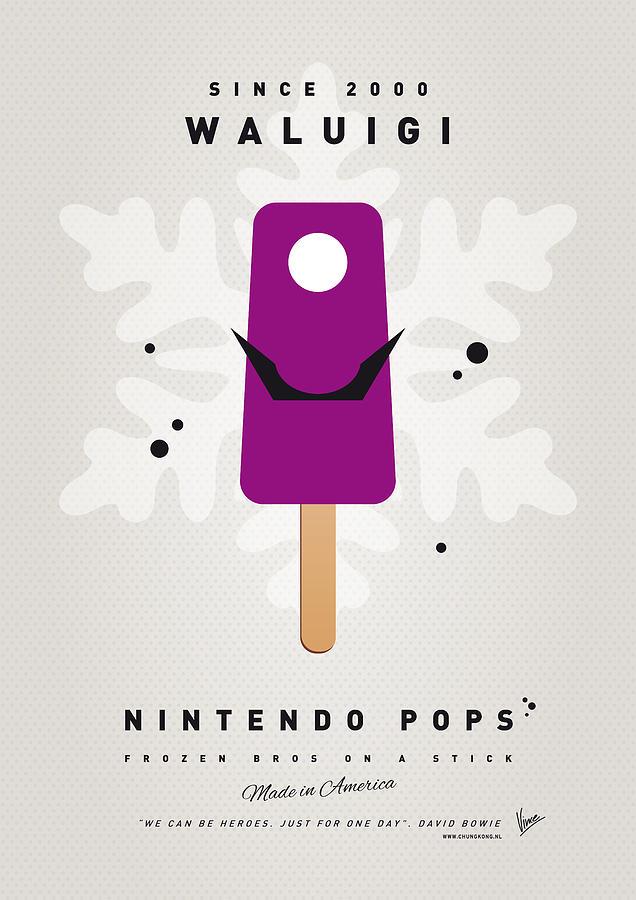 1 Up Digital Art - My Nintendo Ice Pop - Waluigi by Chungkong Art