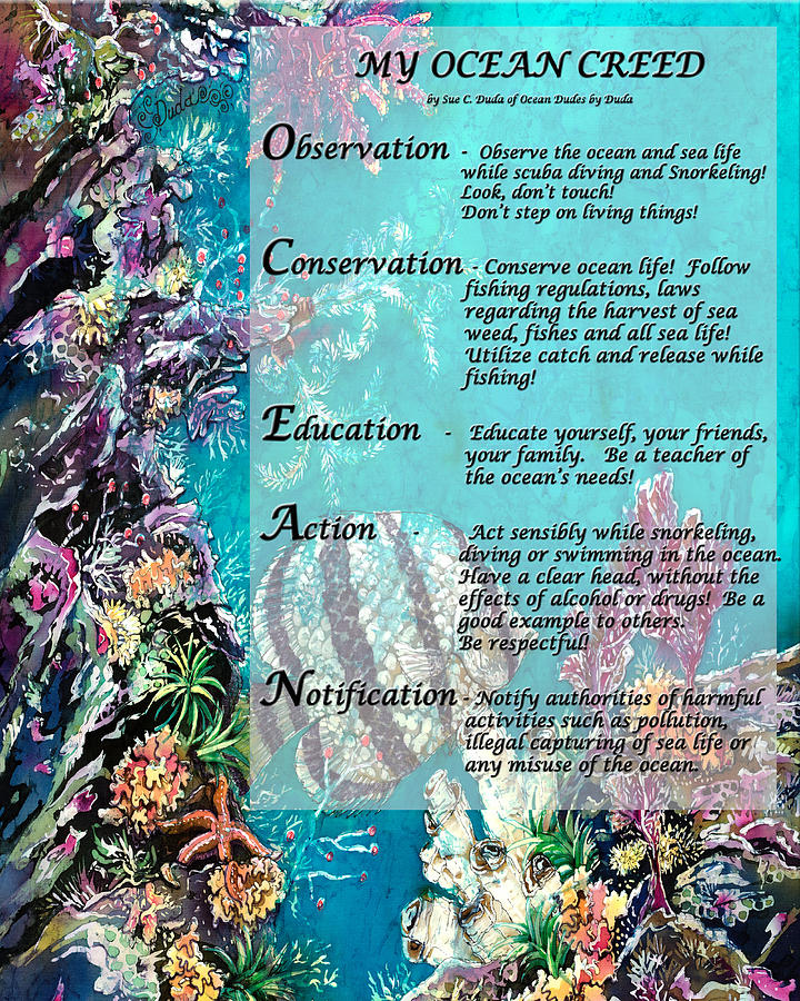 Ocean Painting - My Ocean Creed by Sue Duda