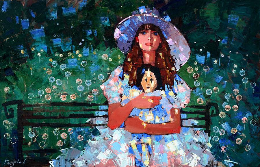 Oil On Canvas Painting - My Pierrot by Anastasija Kraineva