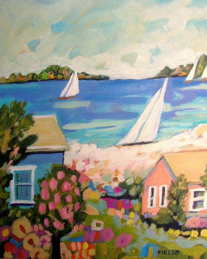 Sailboats Painting - My Pink Hibiscus Tree by Karen Fields