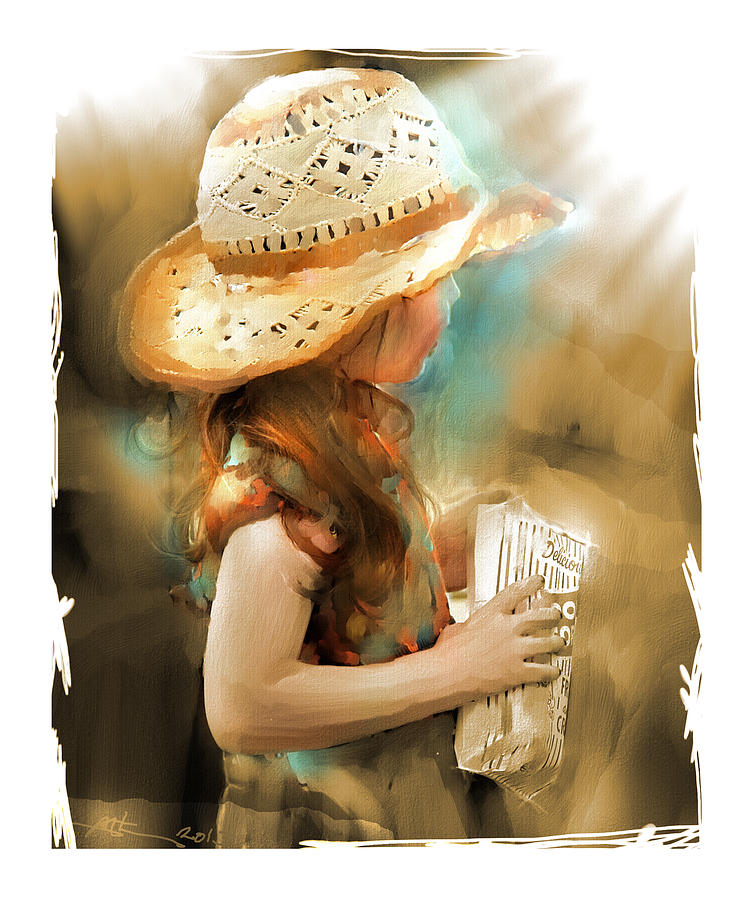 Girl Painting - My Popcorn by Bob Salo