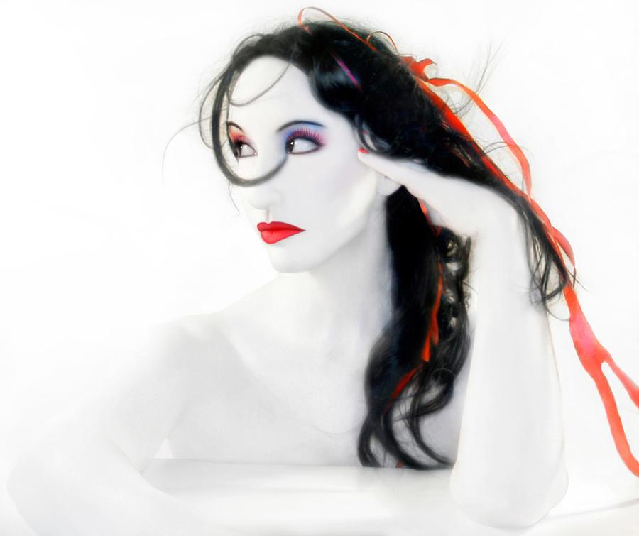 Artsy Photograph - My Red Melancholy - Self Portrait by Jaeda DeWalt