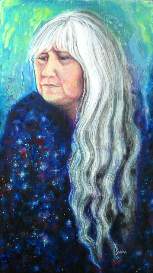 Long White Hair Painting - My Reflections by Karen Roncari