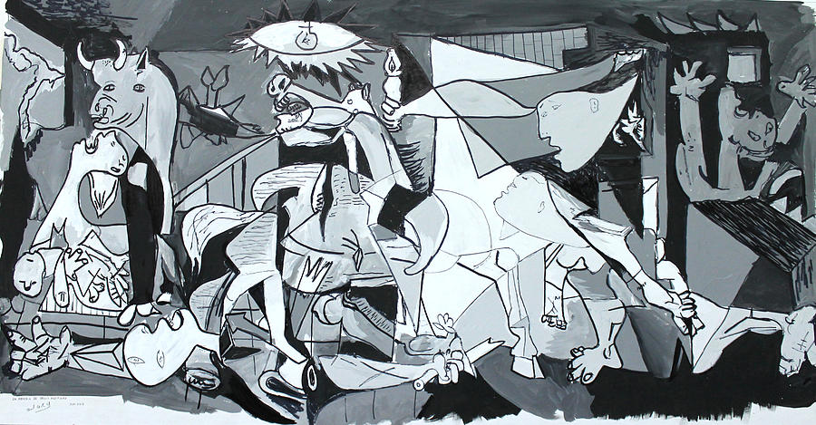 Pablo Picasso Drawing - My Rendition Of Guernica by Miguel Rodriguez
