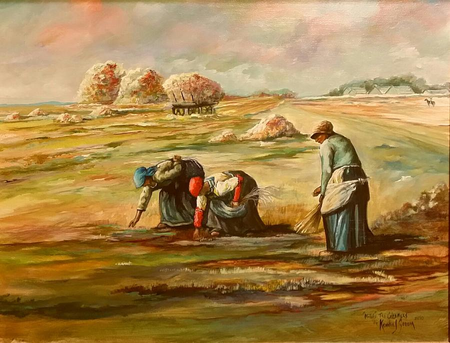 Landscapes Painting - My Rendition Of Millet S The Gleaners by Kendra Sorum