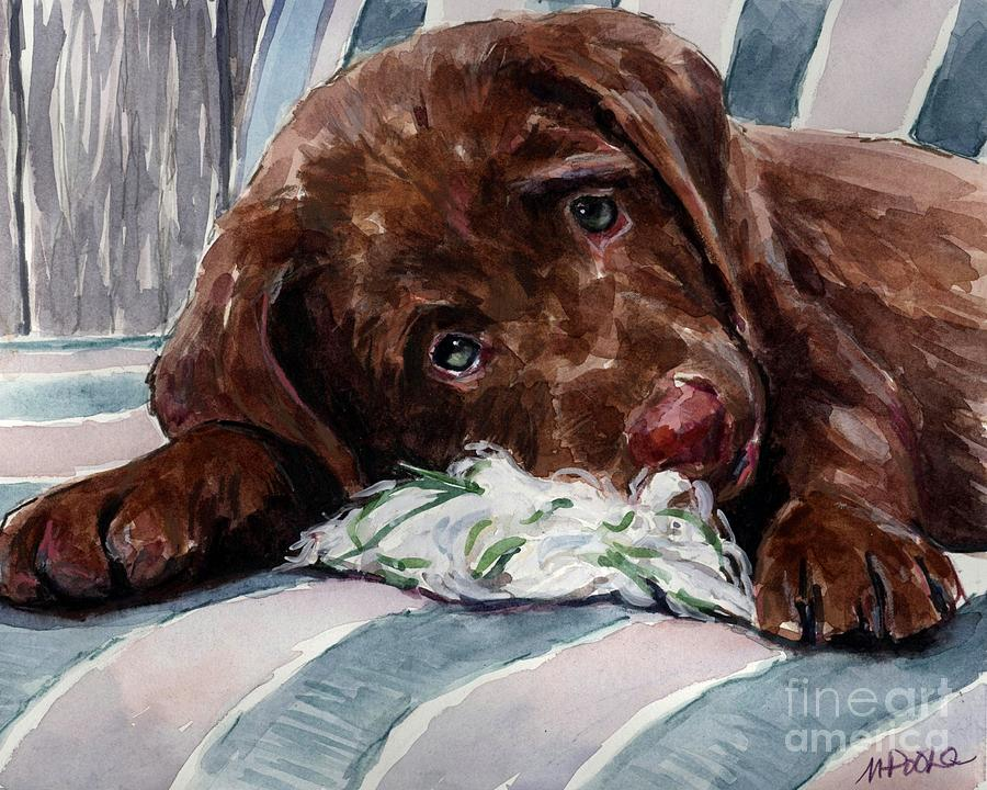 Chocolate Labrador Puppy Painting - My Rope Toy by Molly Poole