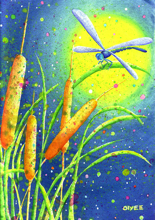 Dragonfly Painting - My Sanctuary by Oiyee At Oystudio