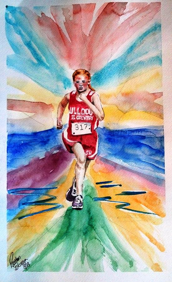 My Sarah Running Cross Country Painting By Richard Benson