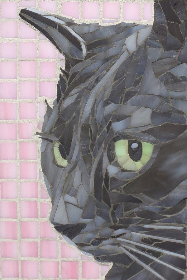Cat Glass Art - My Shadow by Linda Pieroth Smith