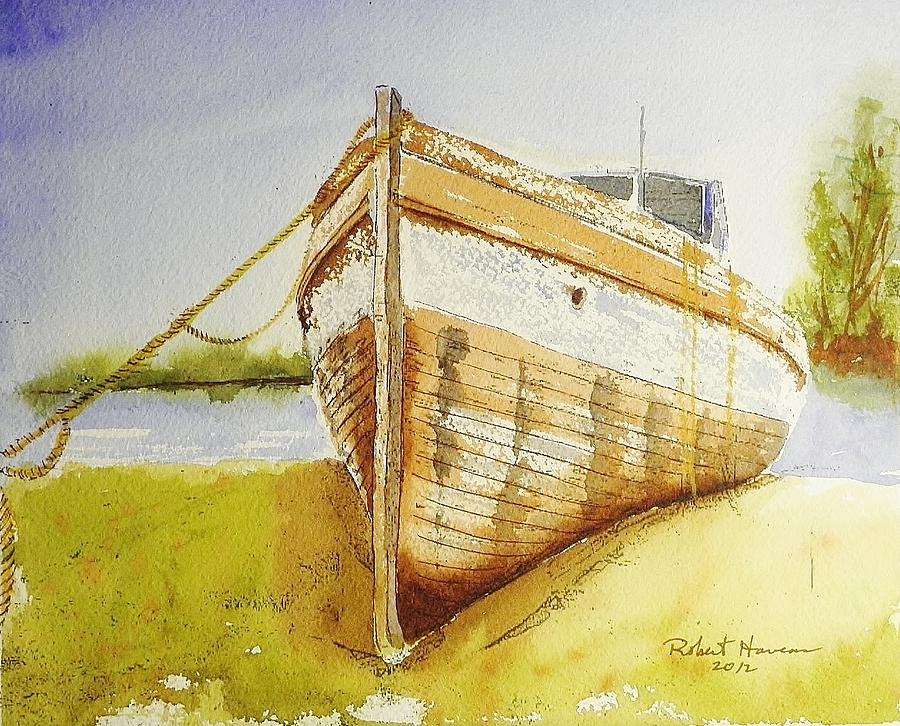 Boat Painting - My Ship Came In by Robert  ARTSYBOB Havens