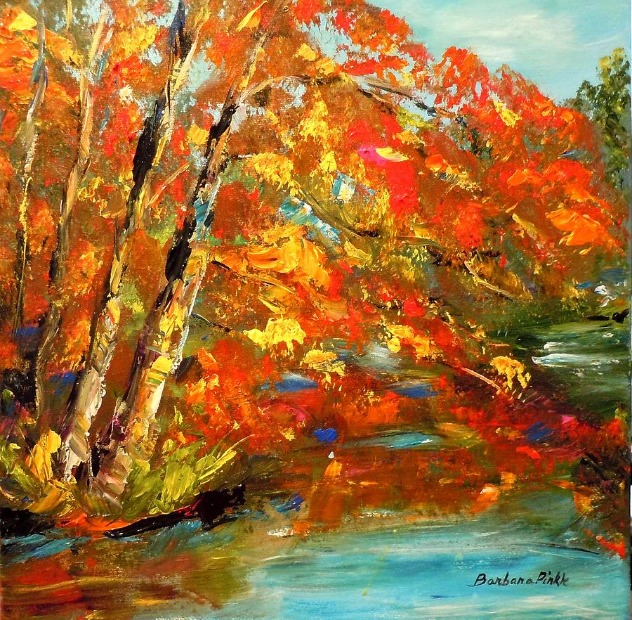Autumn Painting - My Side Of The River by Barbara Pirkle