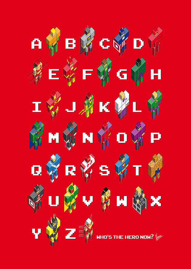 Superheroes Digital Art - My Super Abc Minimal Poster by Chungkong Art