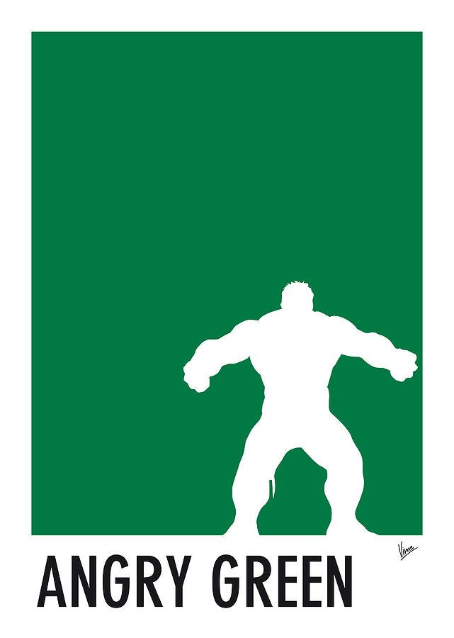 Superheroes Digital Art - My Superhero 01 Angry Green Minimal poster by Chungkong Art