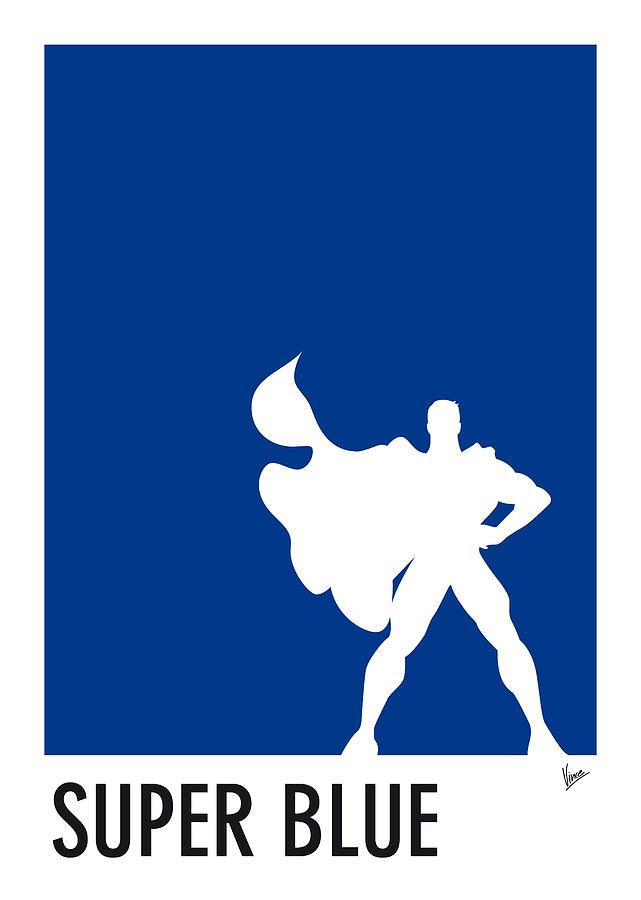 Superheroes Digital Art - My Superhero 03 Super Blue Minimal poster by Chungkong Art