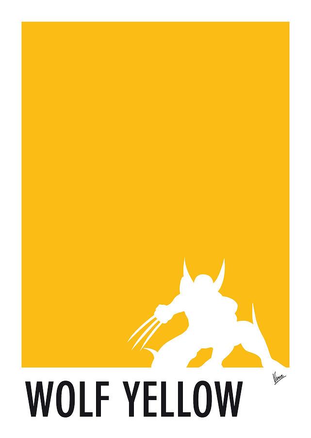 Superheroes Digital Art - My Superhero 05 Wolf Yellow Minimal poster by Chungkong Art