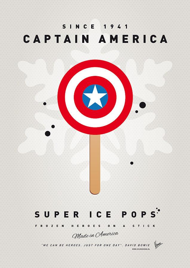 Superheroes Digital Art - My Superhero Ice Pop - Captain America by Chungkong Art
