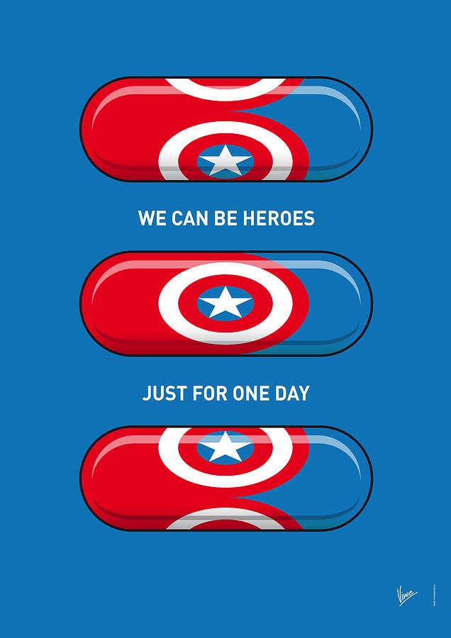 Superheroes Digital Art - My SUPERHERO PILLS - Captain America by Chungkong Art