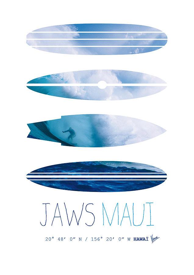 Minimal Digital Art - My Surfspots Poster-1-jaws-maui by Chungkong Art