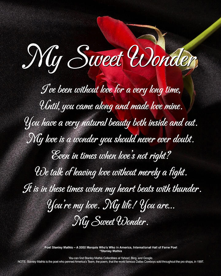 Unisex Digital Art - My Sweet Wonder Poetry Art by Stanley Mathis