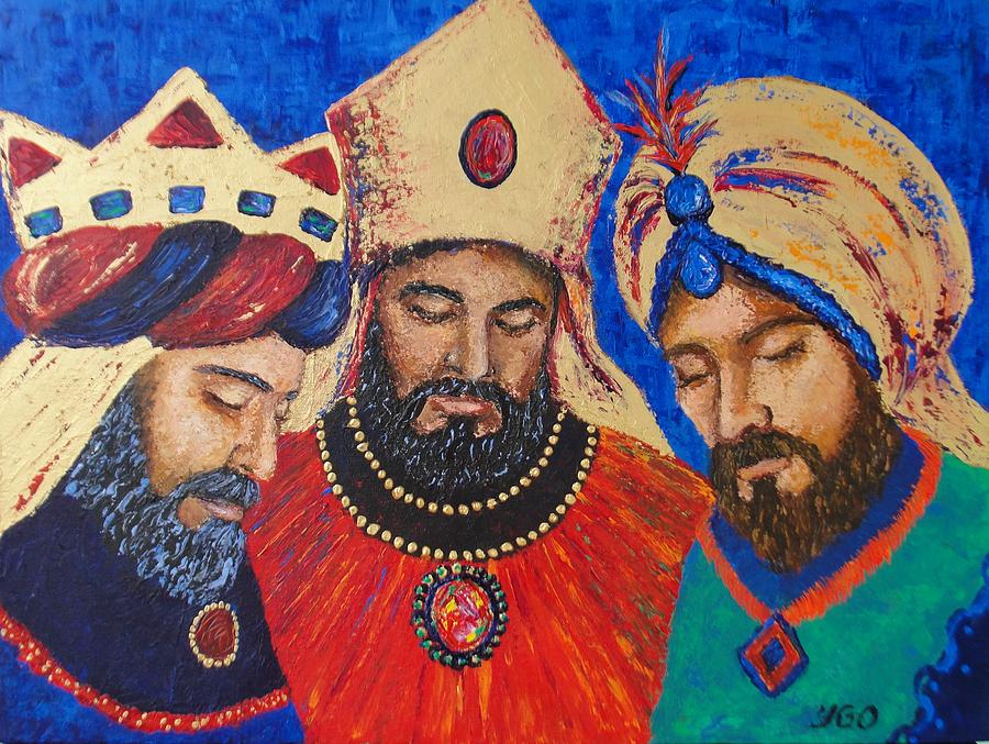 Orange Painting - My Three Wise Kings by Yamelin Gonzalez-Ortiz