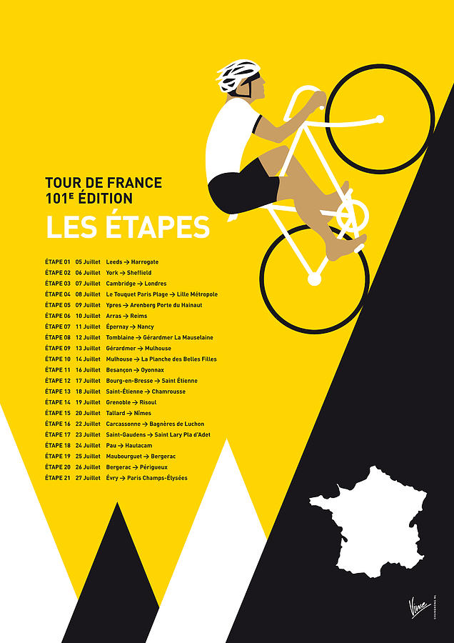 2014 Digital Art - My Tour De France Minimal Poster 2014-etapes by Chungkong Art
