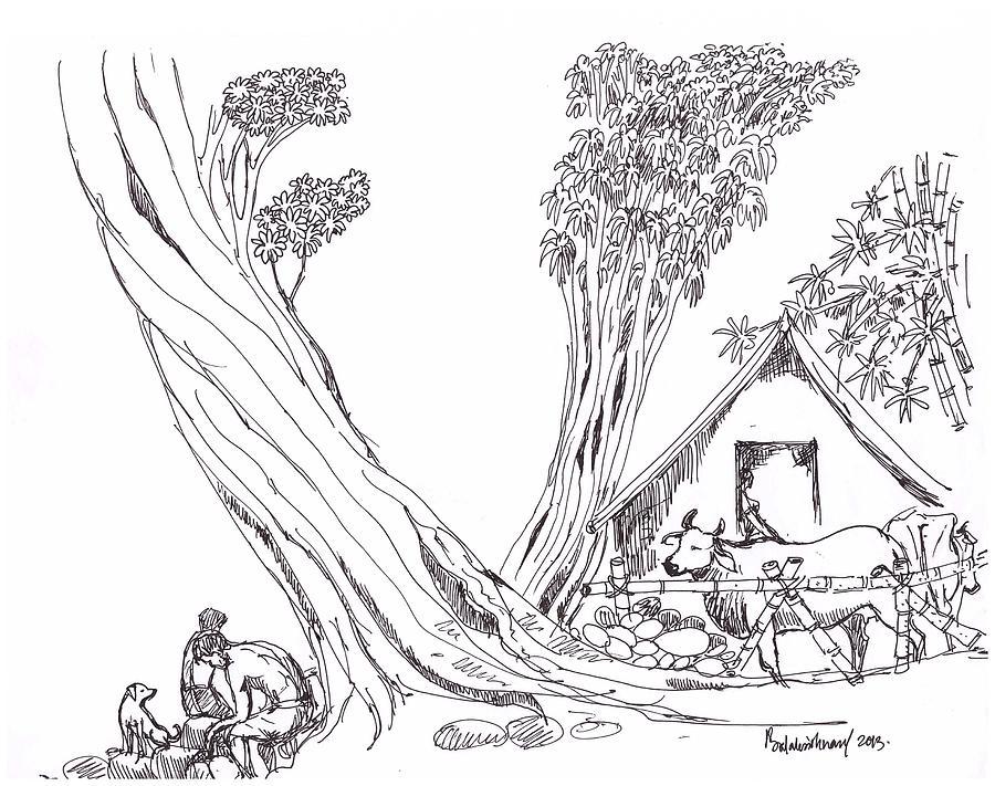 Line Art Village : My village drawing by balakrishnan pt