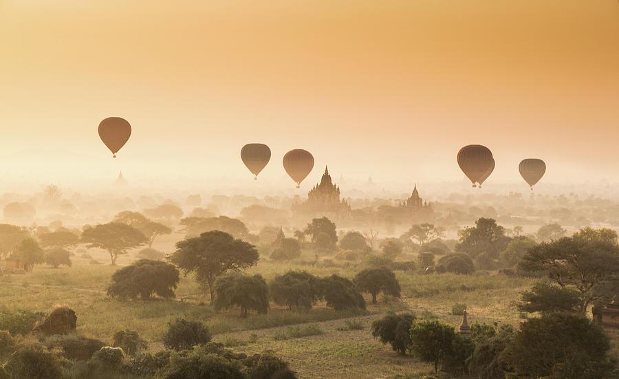 Myanmar Burma - Balloons Flying Over Photograph by 117 Imagery