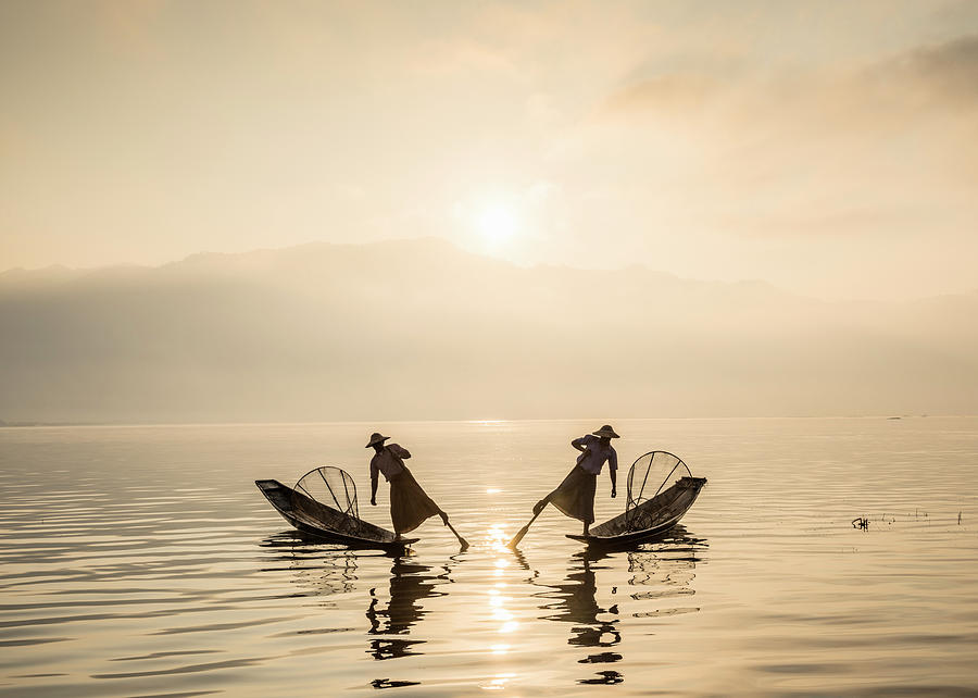 Myanmar, Fishermen On Inle Lake At Photograph by Martin Puddy
