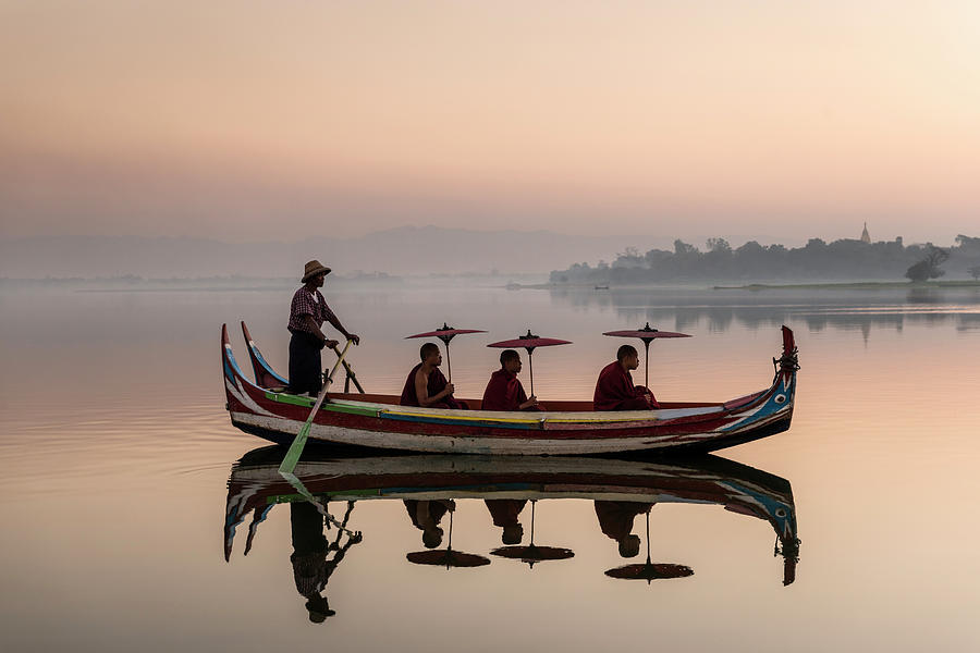 Myanmar, Monks In Boat At Ubein Bridge Photograph by Martin Puddy