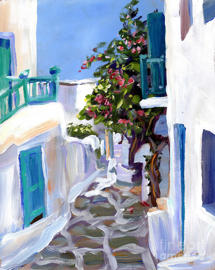 Crystal Cruises Painting - Mykonos Passages by Valerie Freeman