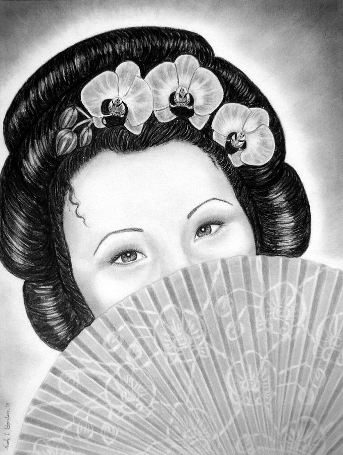 Geisha Drawing - Mysterious - Geisha Girl With Orchids And Fan by Nicole I Hamilton