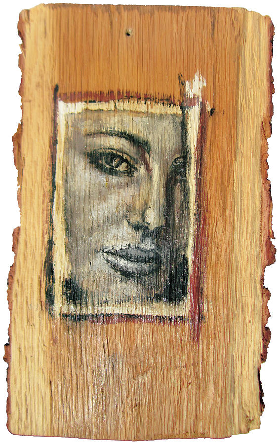 Adult Painting - Mysterious Girl Face Portrait - Painting On The Wood by Nenad Cerovic