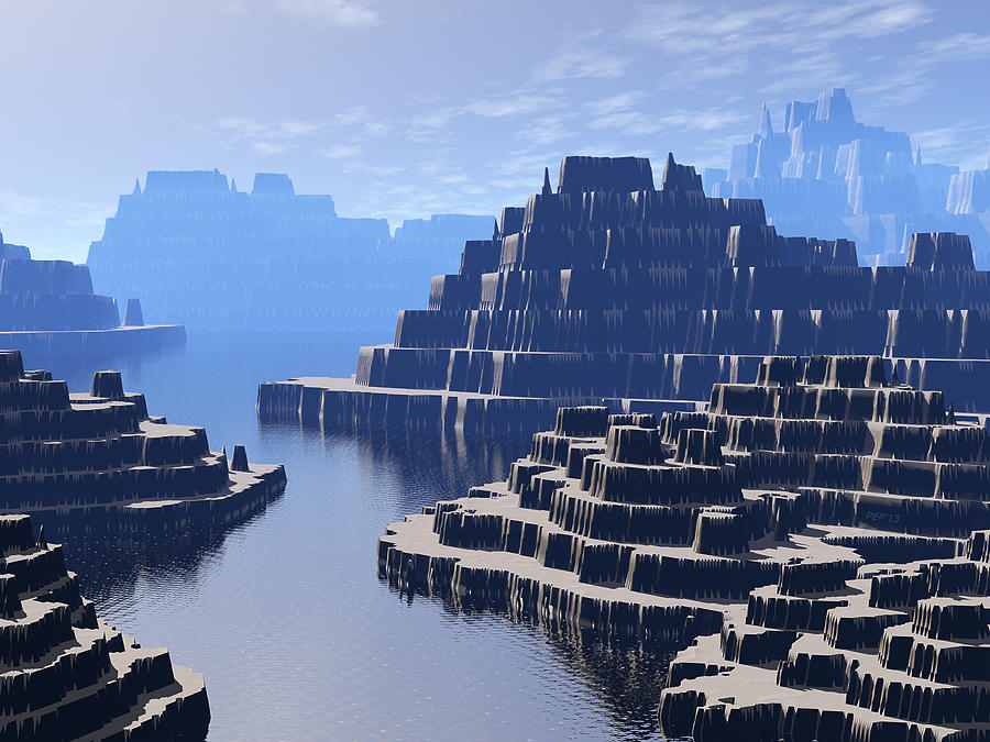 Mountains Digital Art - Mysterious Terraced Mountains by Phil Perkins