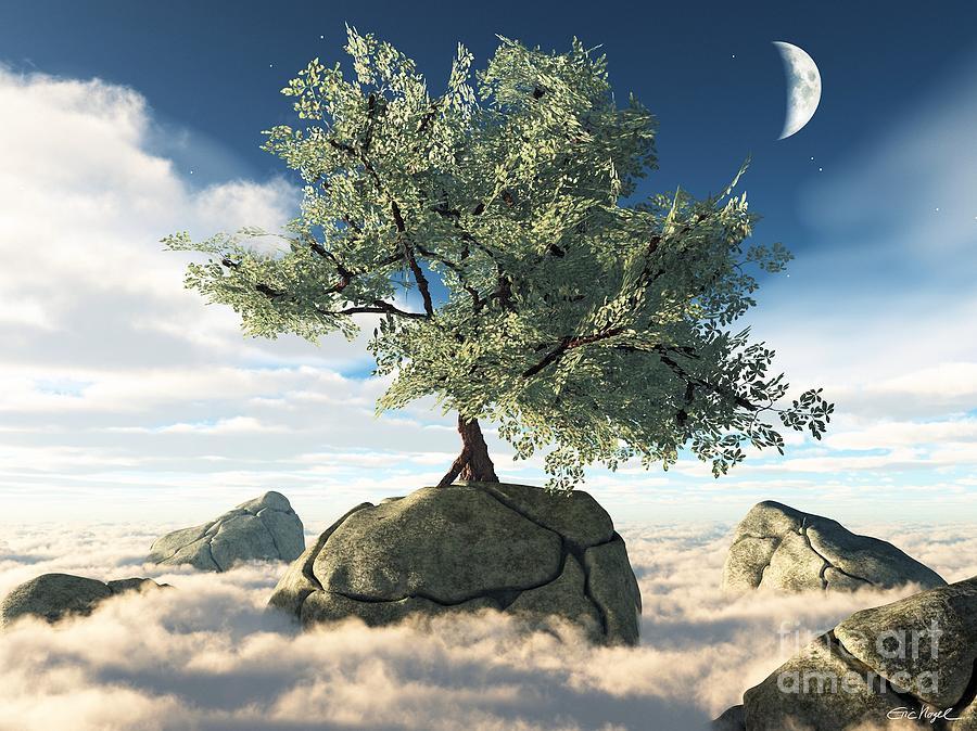 Surreal Digital Art - Mystery Tree by Eric Nagel
