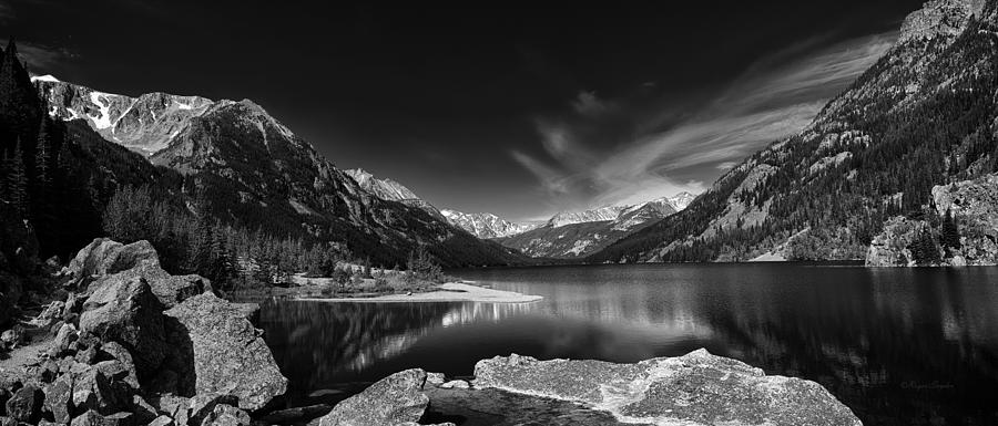 Montana Photographs Photograph - Mystic Lake Pano 2 Bw by Roger Snyder