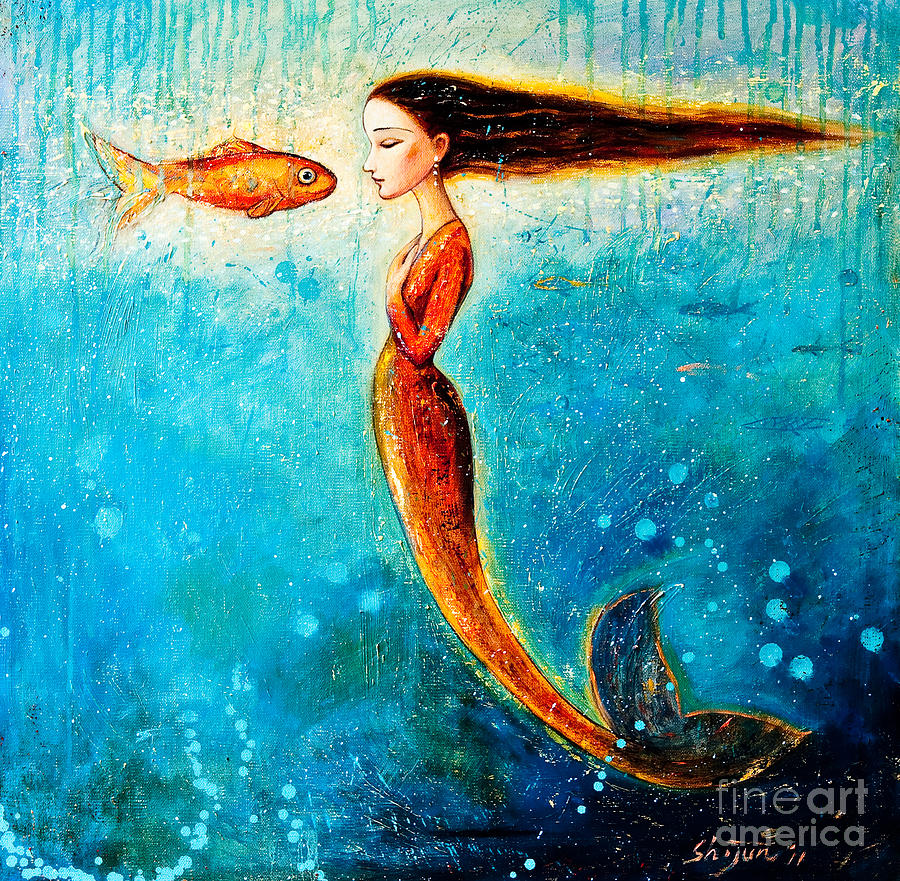 Mermaid Painting - Mystic Mermaid II by Shijun Munns