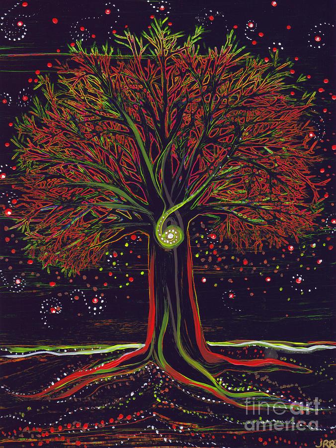 First Star Painting - Mystic Spiral Tree Red By Jrr by First Star Art