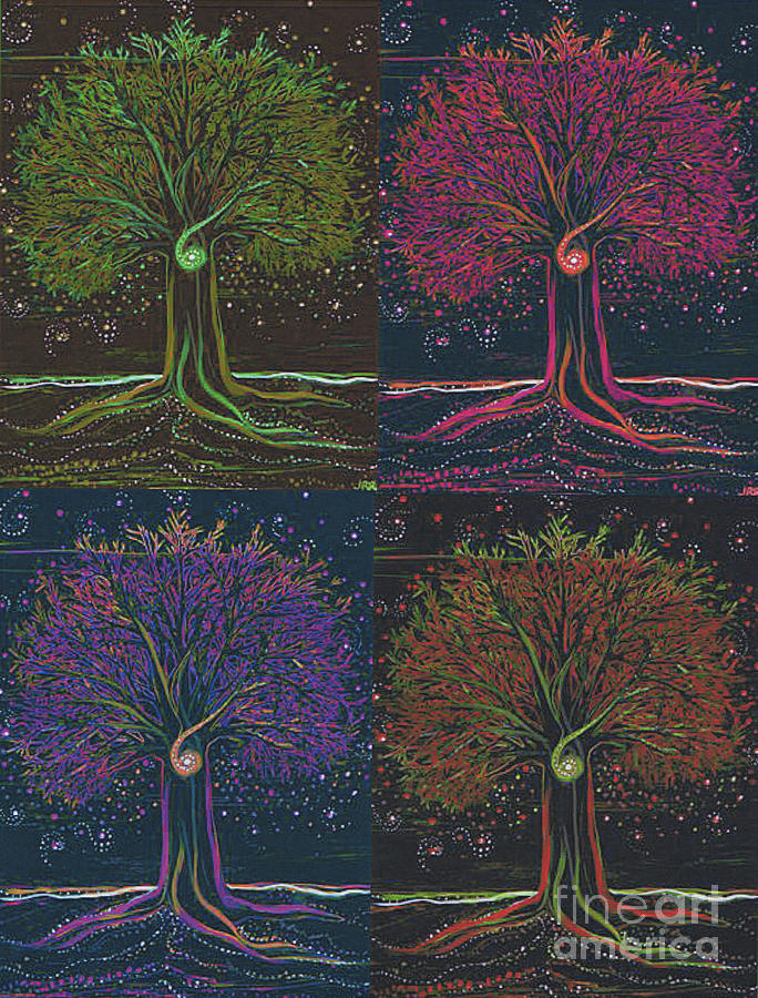 First Star Painting - Mystic Spiral Tree X 4 By Jrr by First Star Art