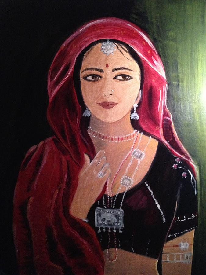 Indian Woman Painting - Mystic Woman by Brindha Naveen
