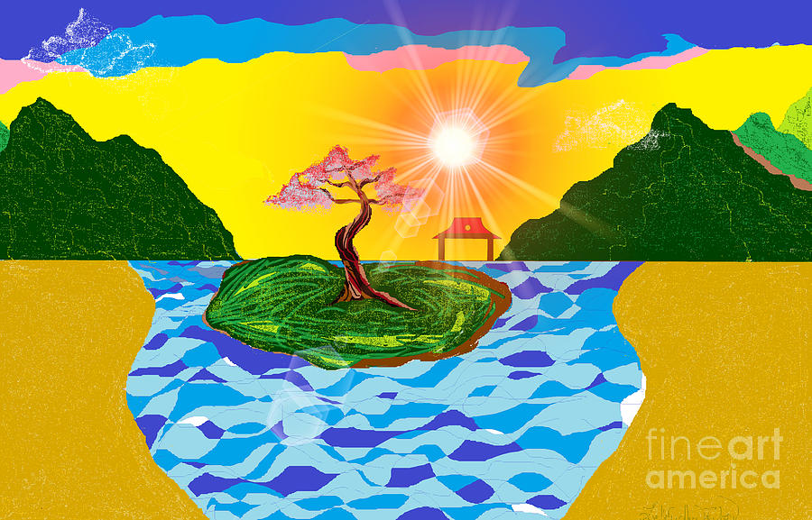 Sunrise Digital Art - Mystical Island by Lewanda Laboy