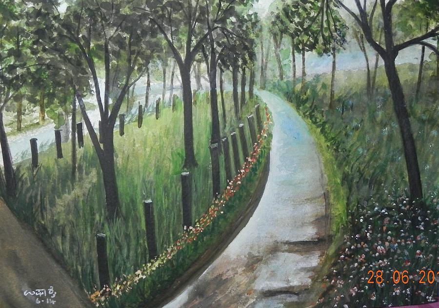 Nature Painting - Misty Morning by Usha Rai