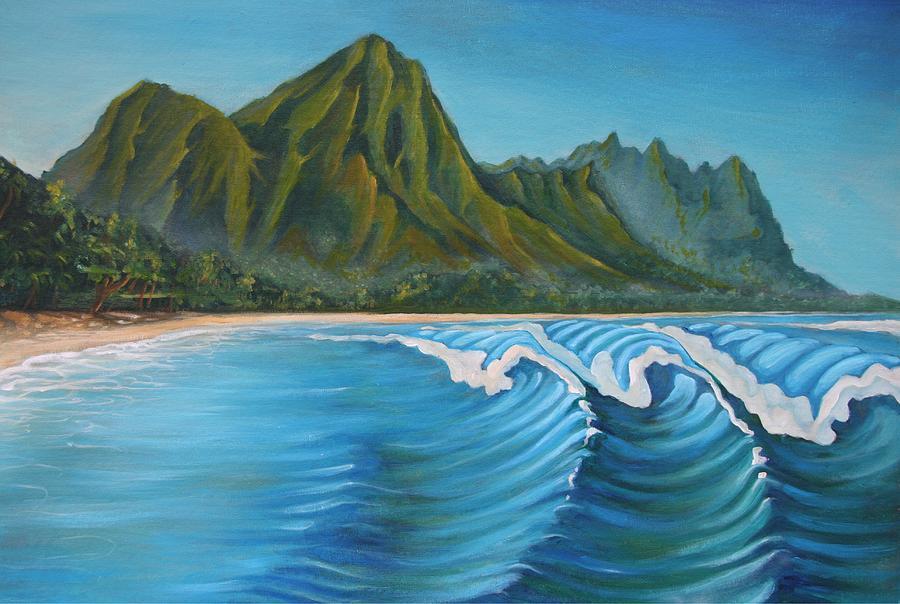 Hawaii Painting - Na Pali by Olivier Longuet