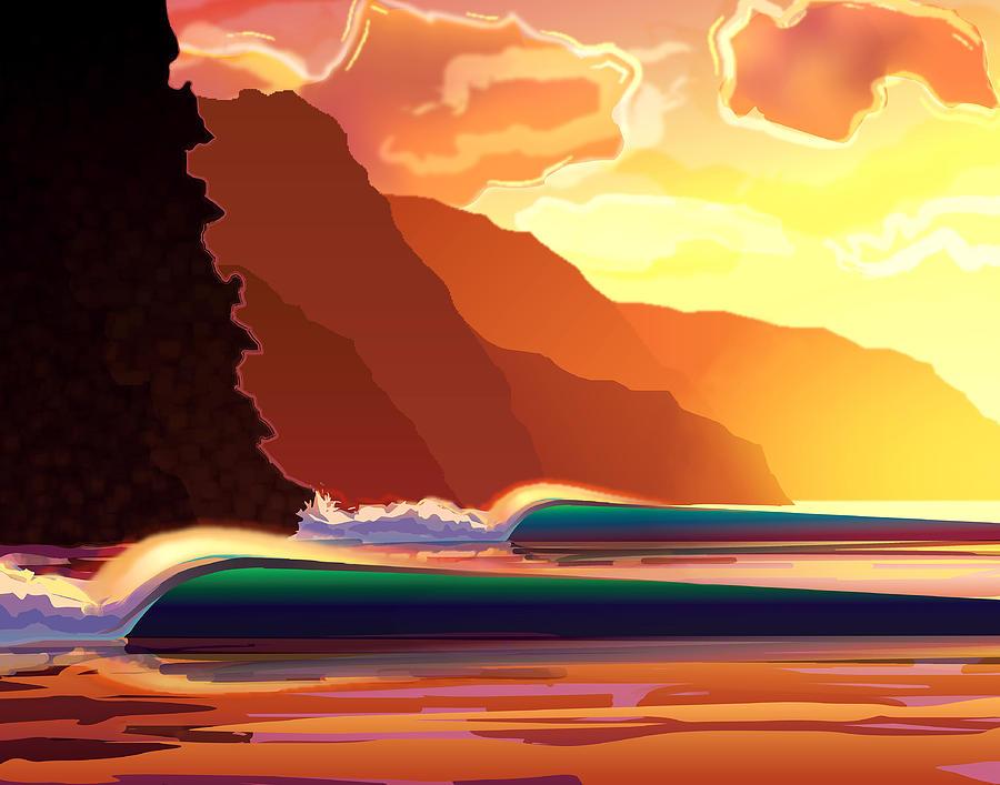 Digital Digital Art - Na Pali by Patrick Parker