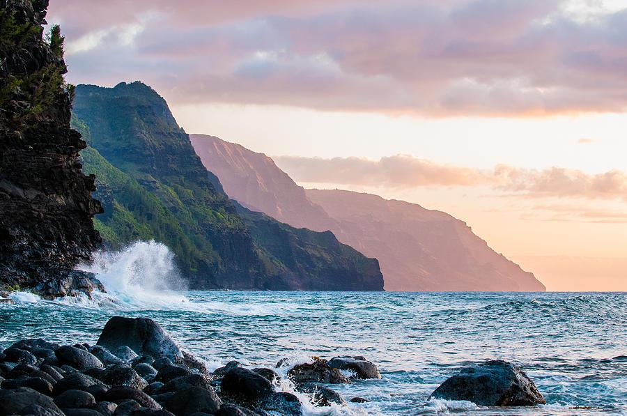 Hawai'i Photograph - Na Pali Spray by Adam Pender