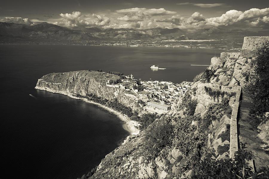 Nafplio Photograph - Nafplio Peninsula Sepia by David Waldo