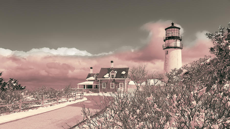 Lighthouse Photograph - Naive Art Photography - Pink Truro Lighthouse in Winter by Dapixara Black and White Photography